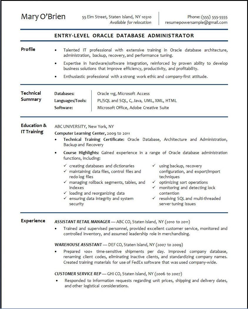 oracle database administrator resume sampleml