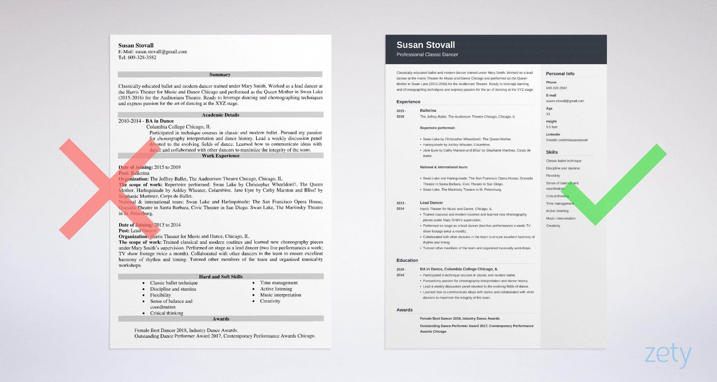dance resume example