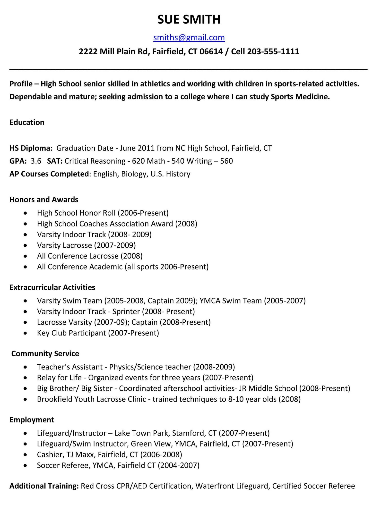 Sample Of A Resume for College Application High School Student Resume Template - Http://www.jobresume.website ...
