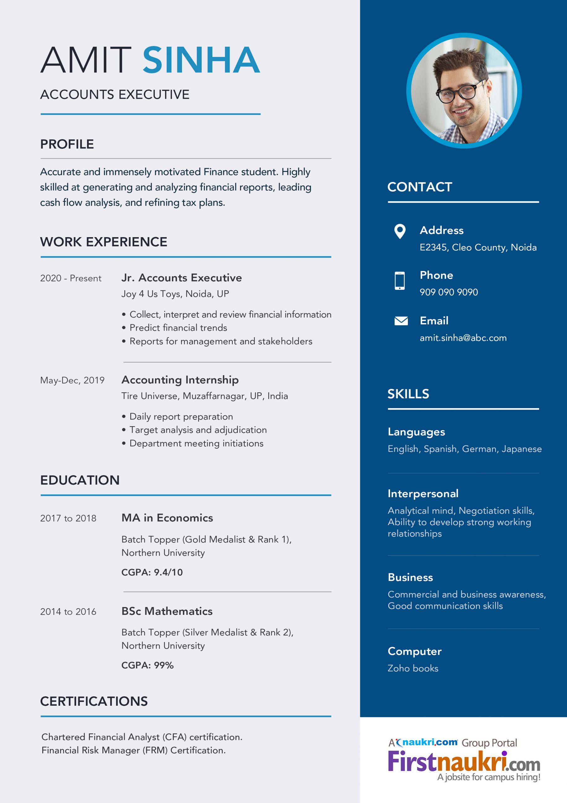 accounting resume sample for freshers in 2020
