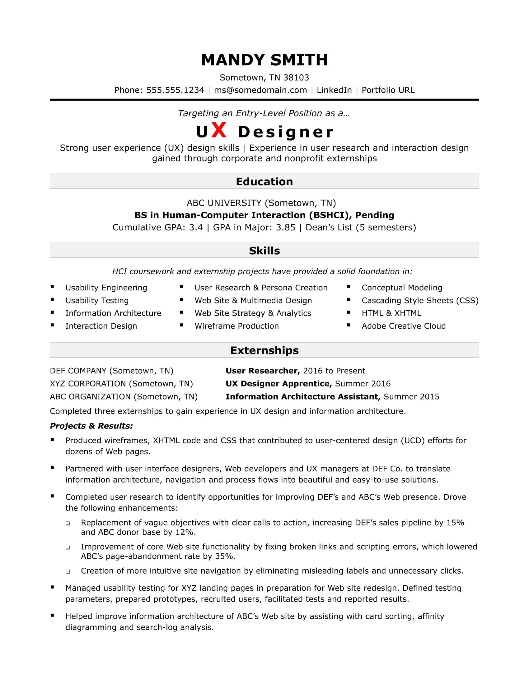 Sample Resume after Career Break India Sample Resume for An Entry-level Ux Designer Monster.com