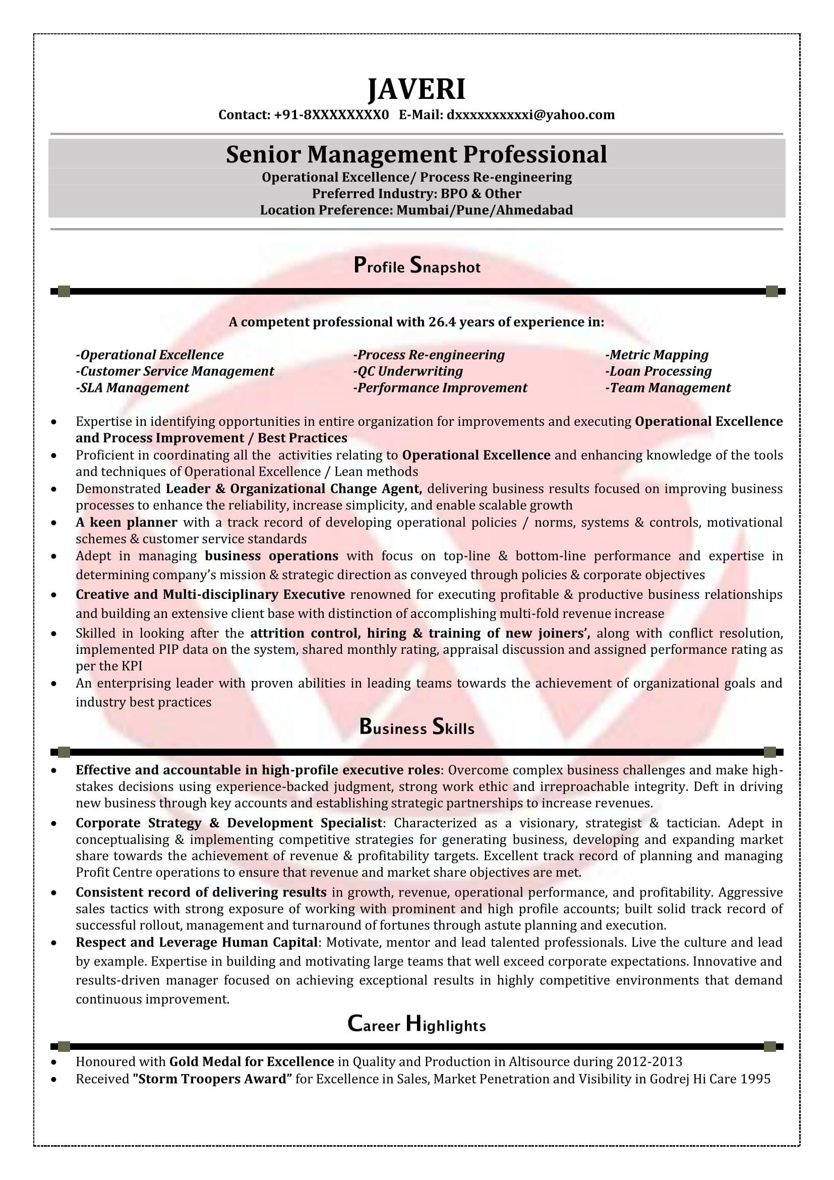 bpo resume sample formats