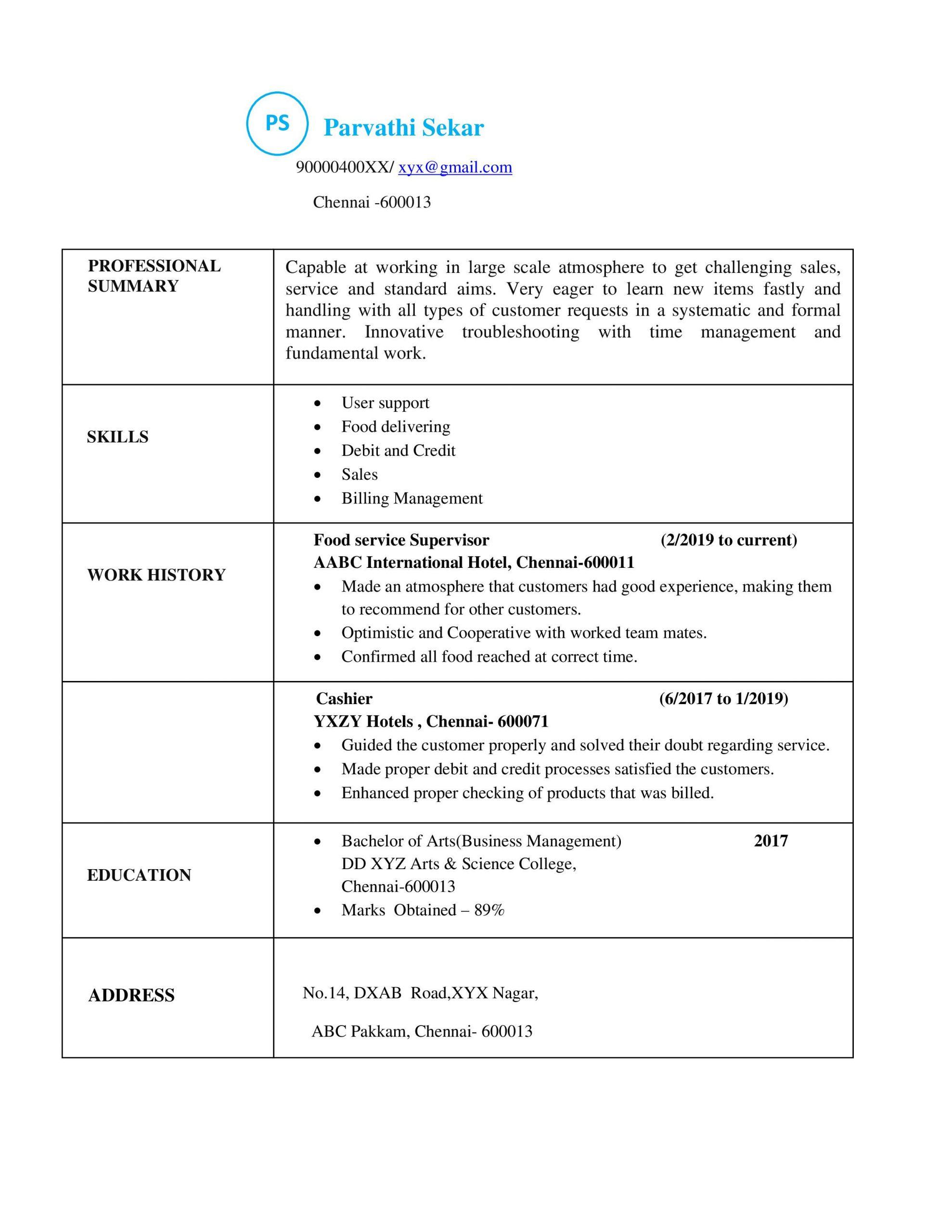 types of resume models for freshers
