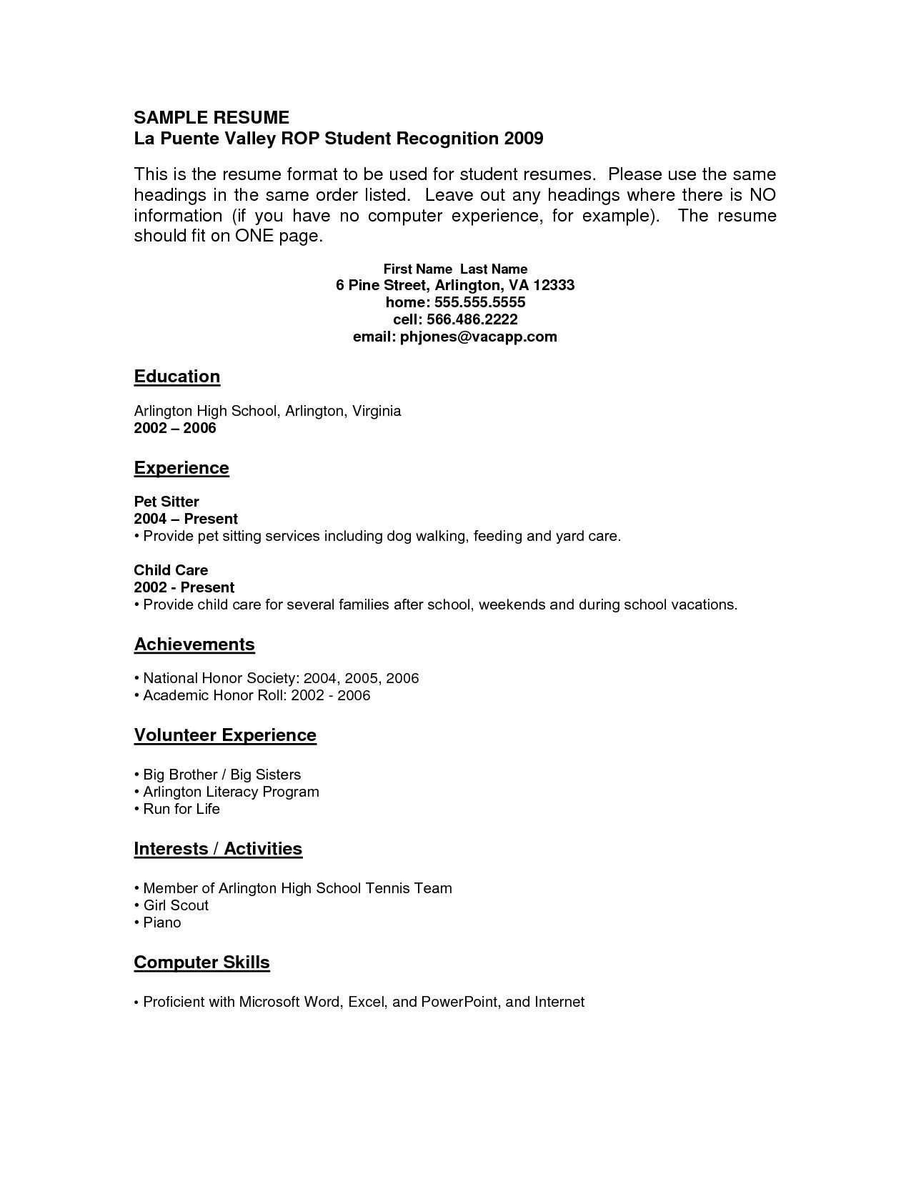 Sample Resume for High School Student with No Job Experience Resume Examples with No Job Experience - Resume Templates Job ...