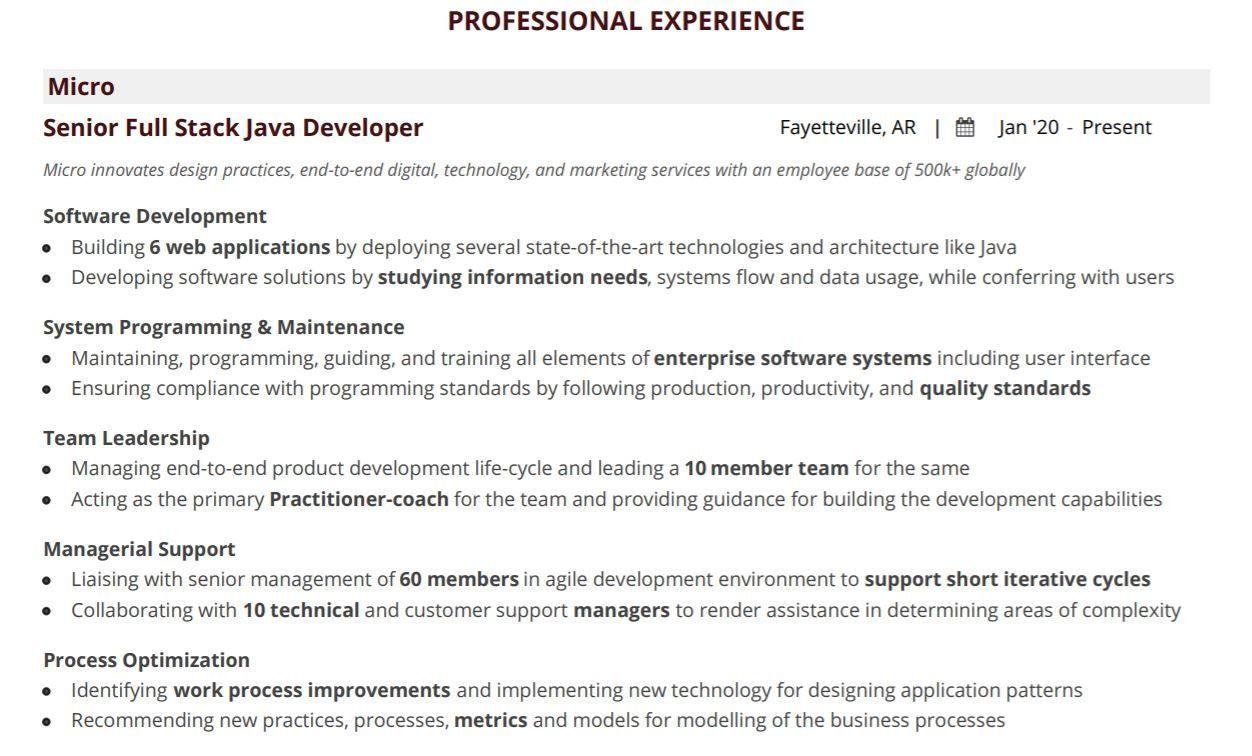 java full stack developer resume