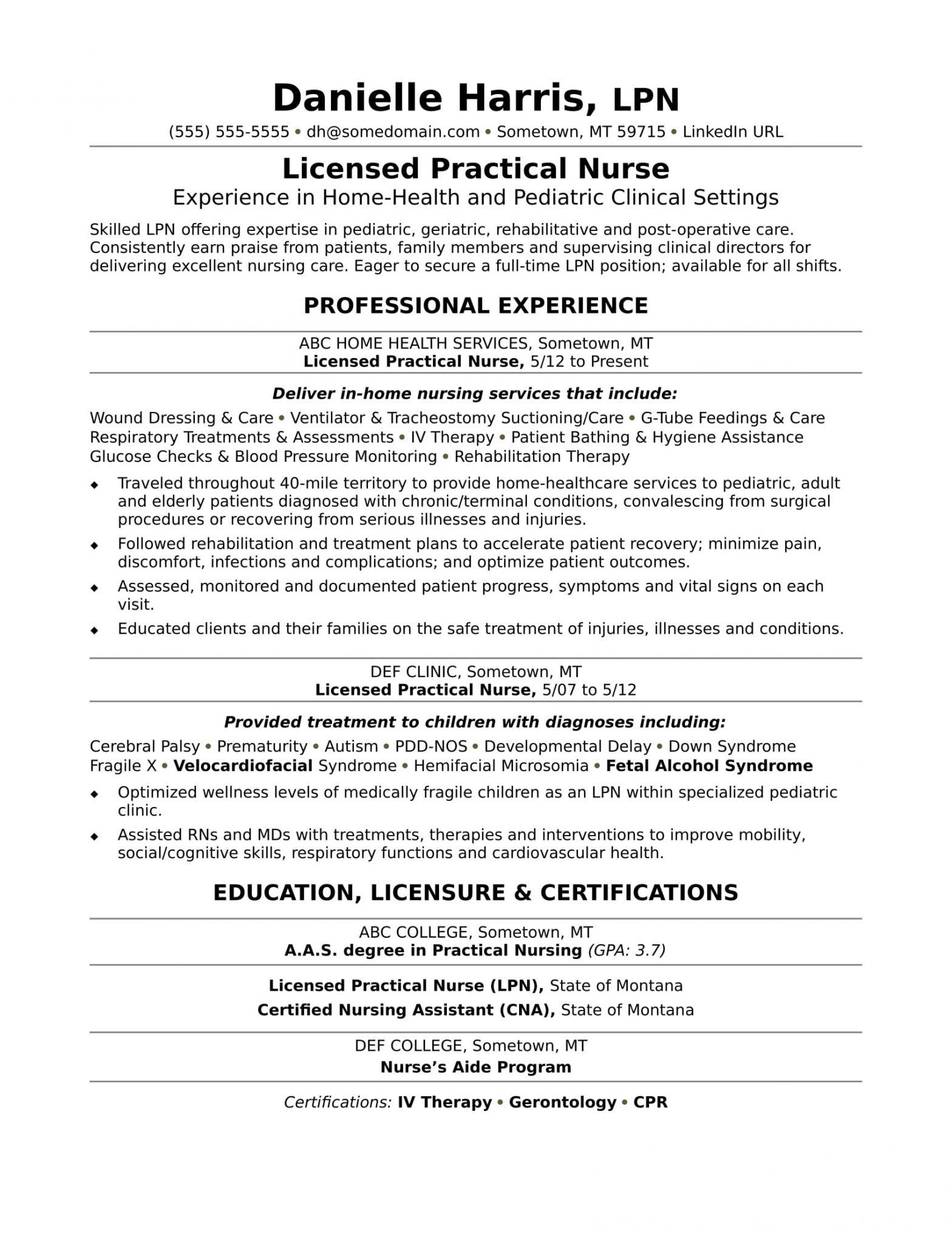 Sample Resume for Licensed Vocational Nurse Licensed Practical Nurse Resume Sample Monster.com