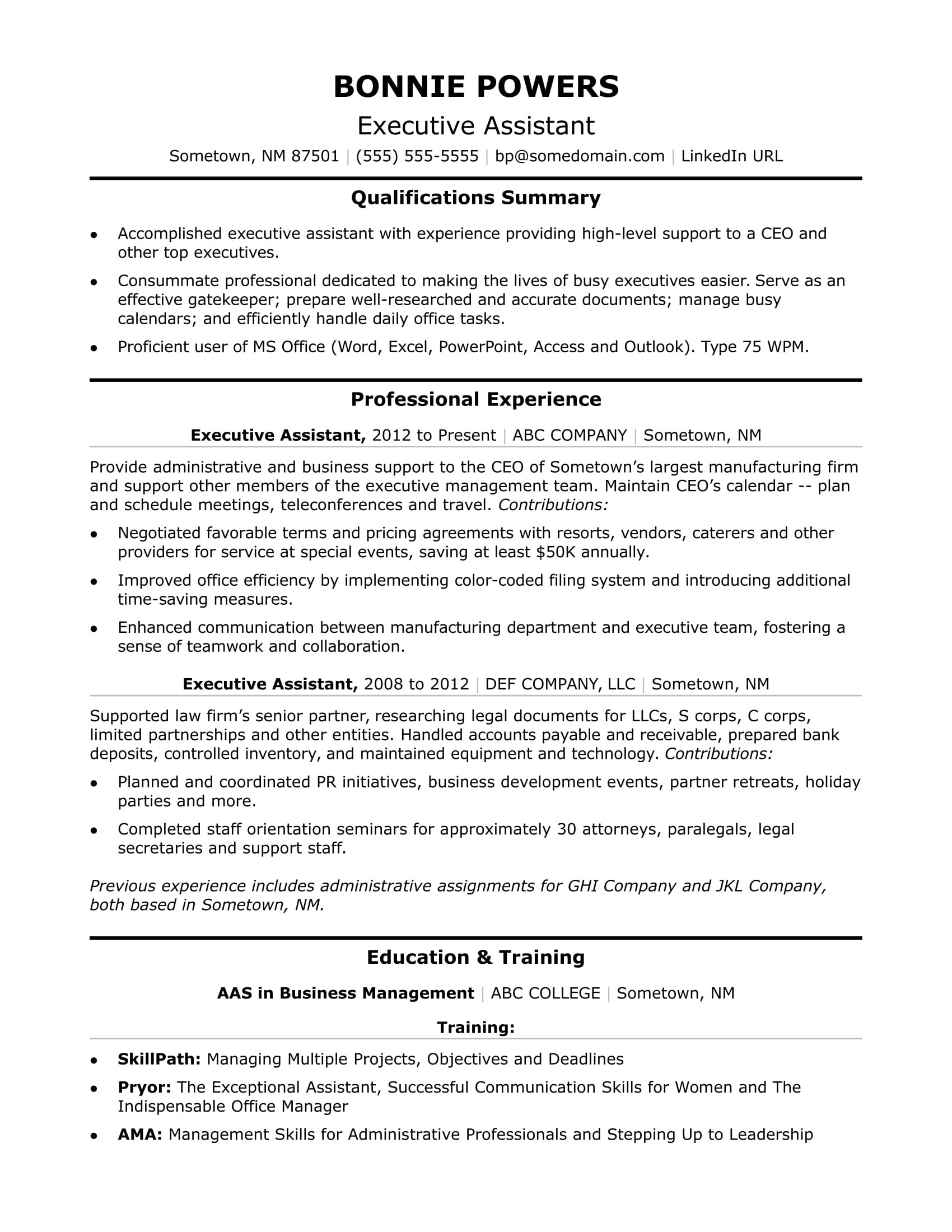 Sample Resume for Personal assistant to Ceo Executive Administrative assistant Resume Sample Monster.com