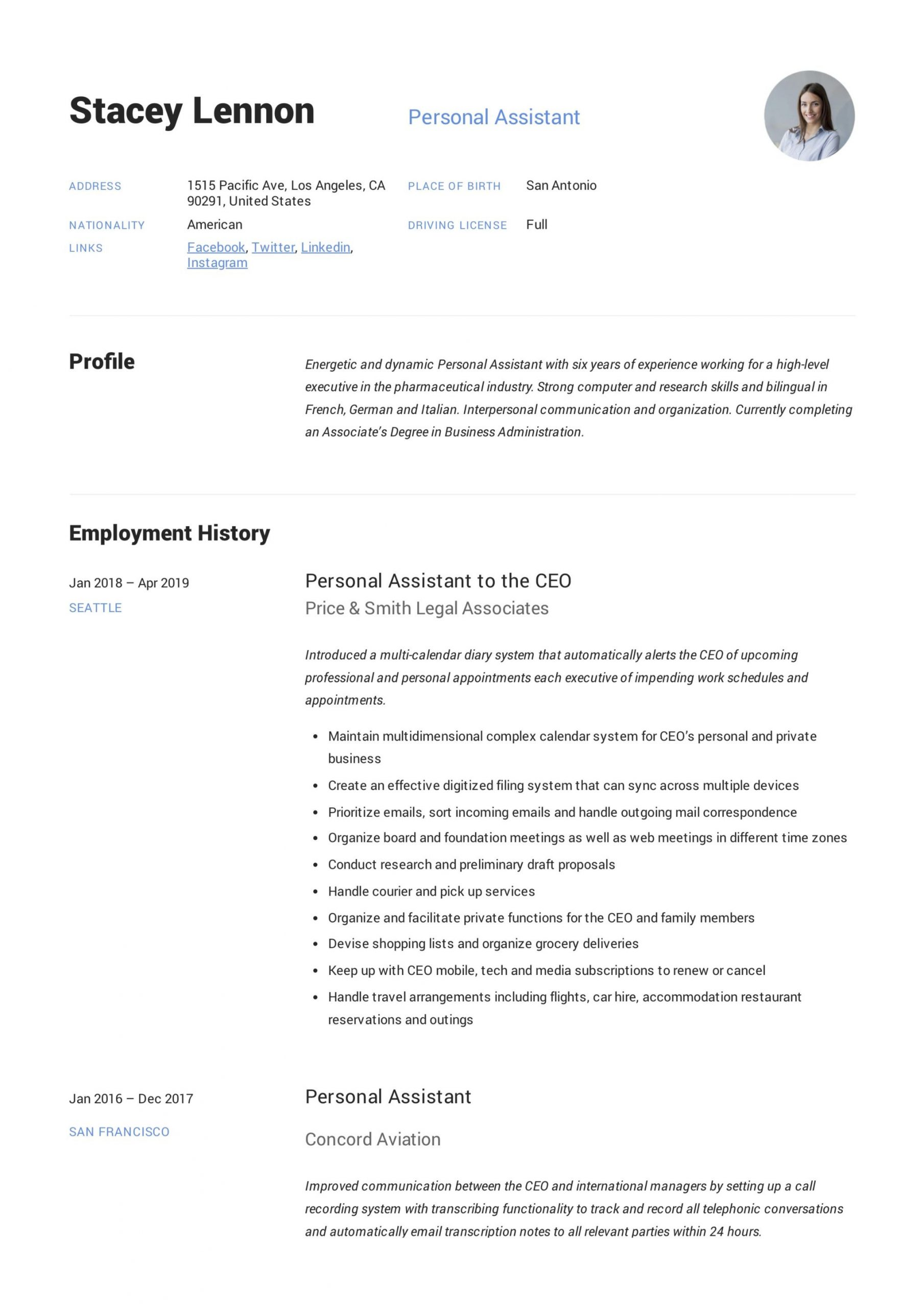 personal assistant to ceo cvml