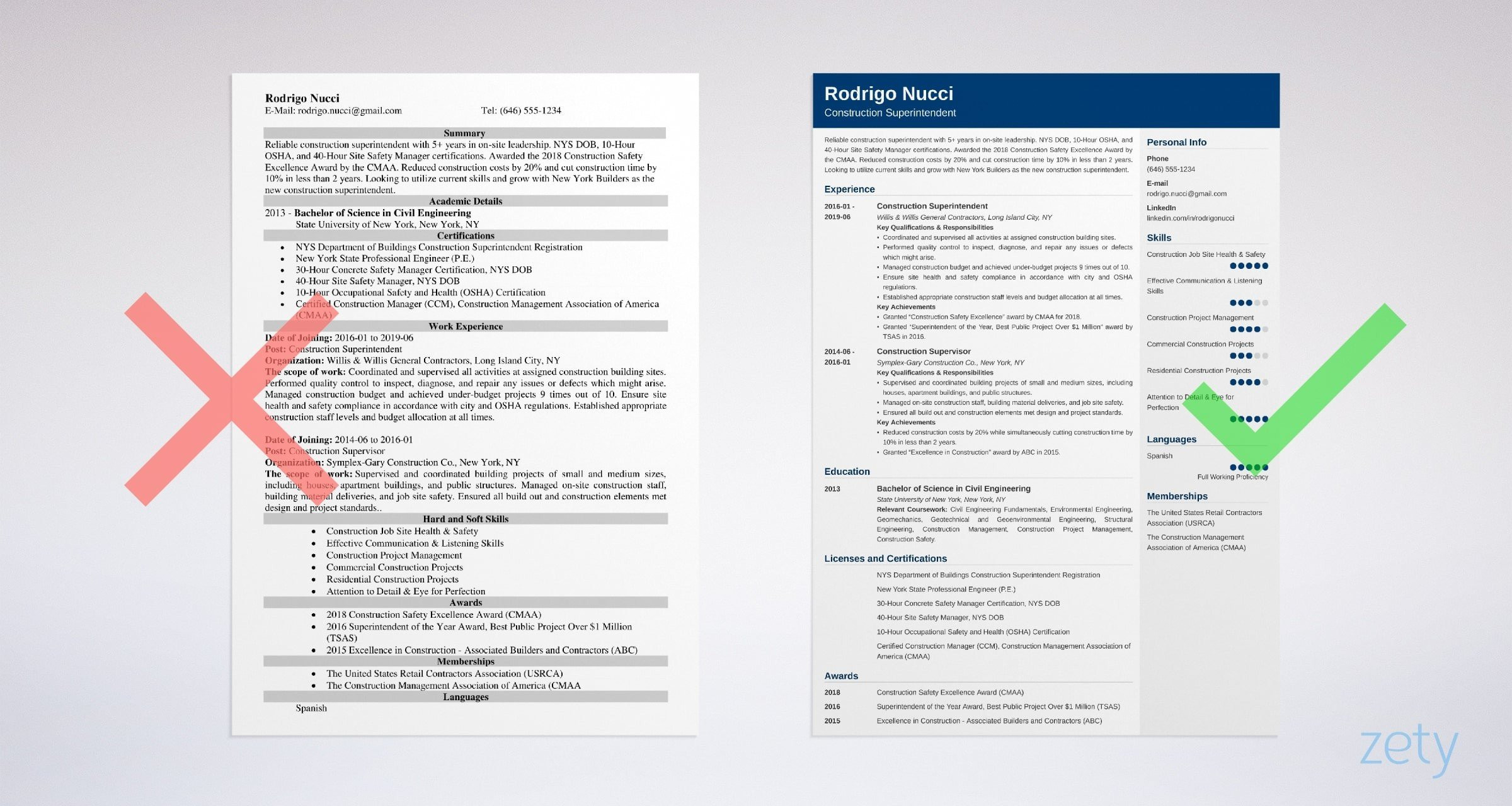 construction superintendent resume example