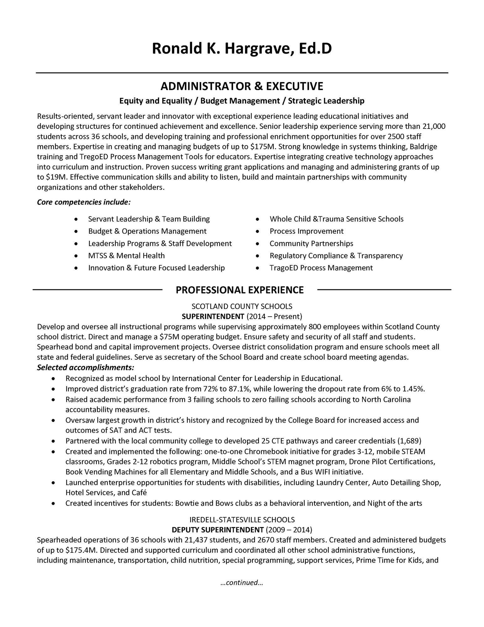school district superintendent resumeml