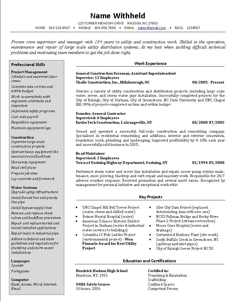 superintendent resume sampleml