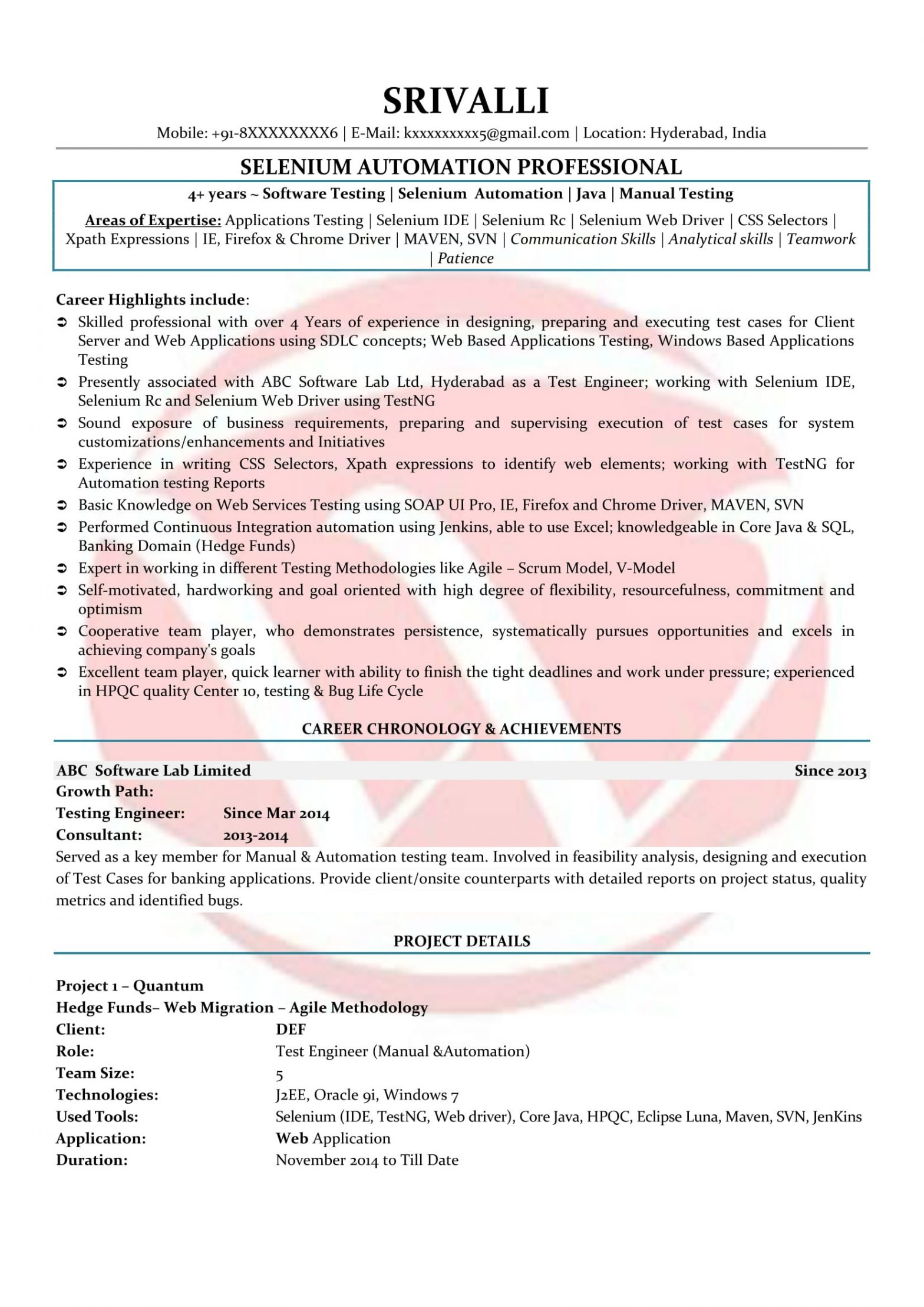 Sample Resume for Selenium Automation Tester Selenium Sample Resumes, Download Resume format Templates!
