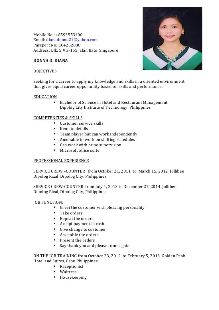 Sample Resume for Service Crew No Experience Resume Donna