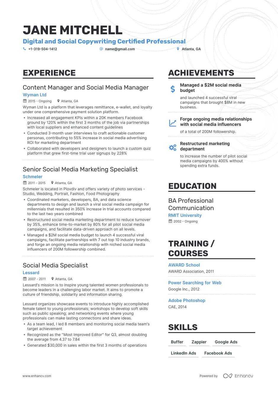 Sample Resume for social Media Manager social Media Manager Resume Examples & Guide for 2021