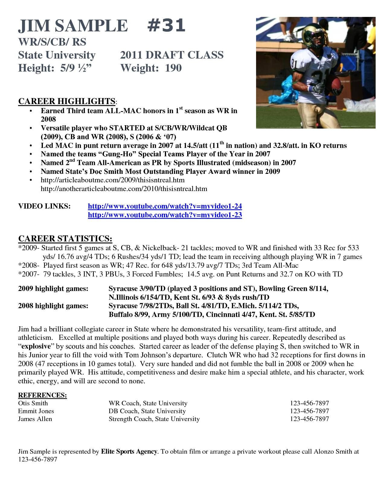 professional soccer player cv exampleml