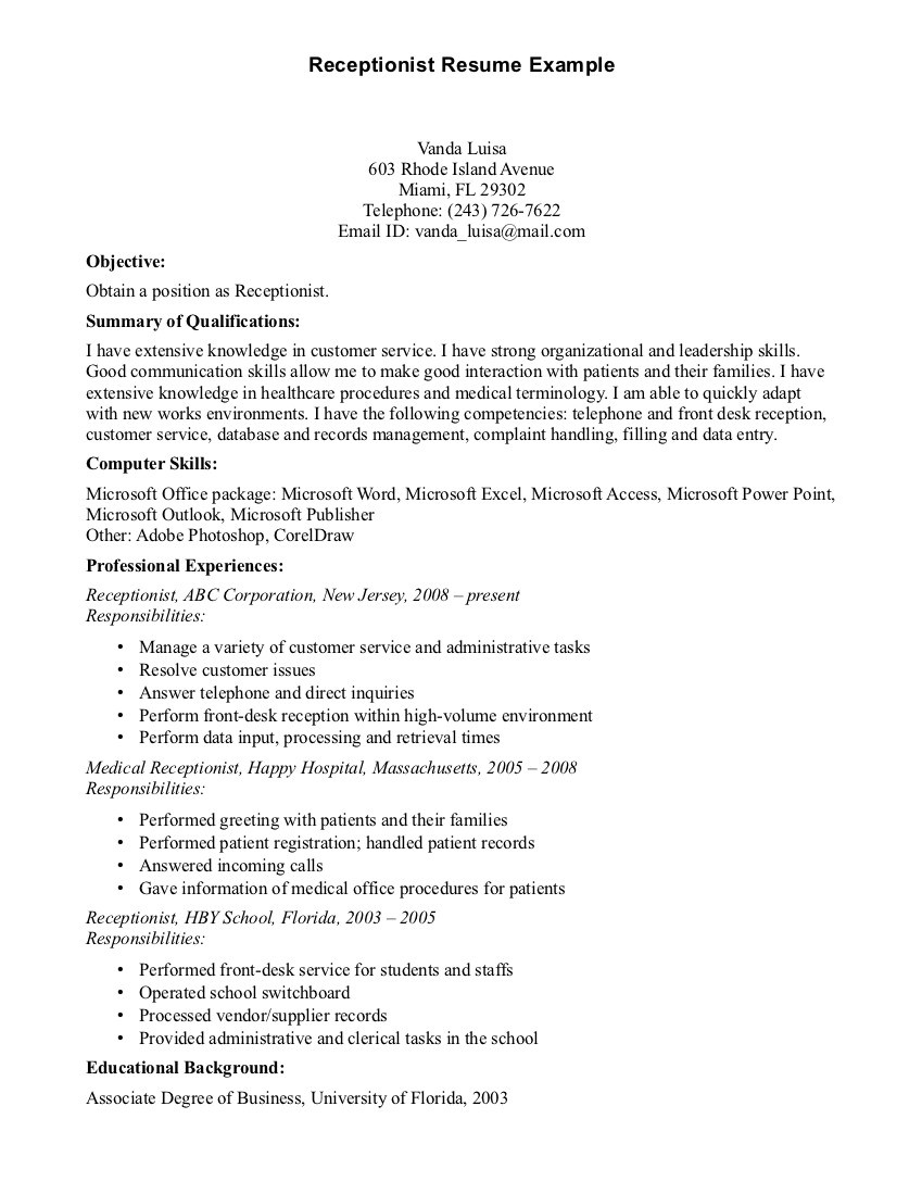 whose resume objectives for medical receptionist vO 2128