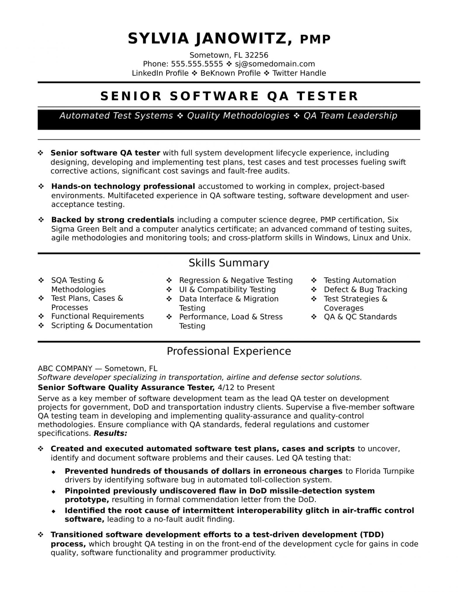 Sample Resume with Agile Experience for Testing Experienced Qa software Tester Resume Sample Monster.com
