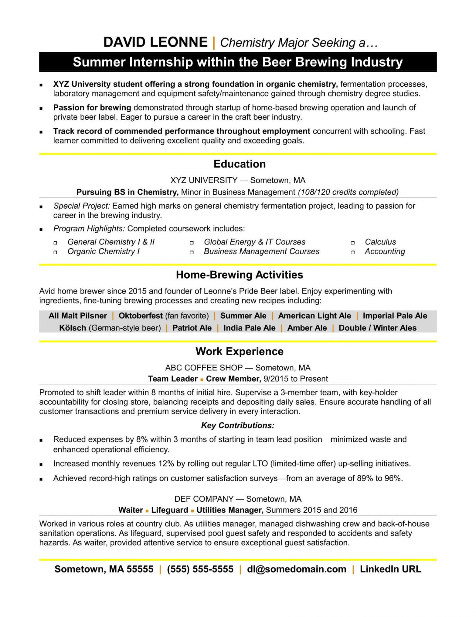 Sample Resume with Co Op Experience Resume for Internship Monster.com