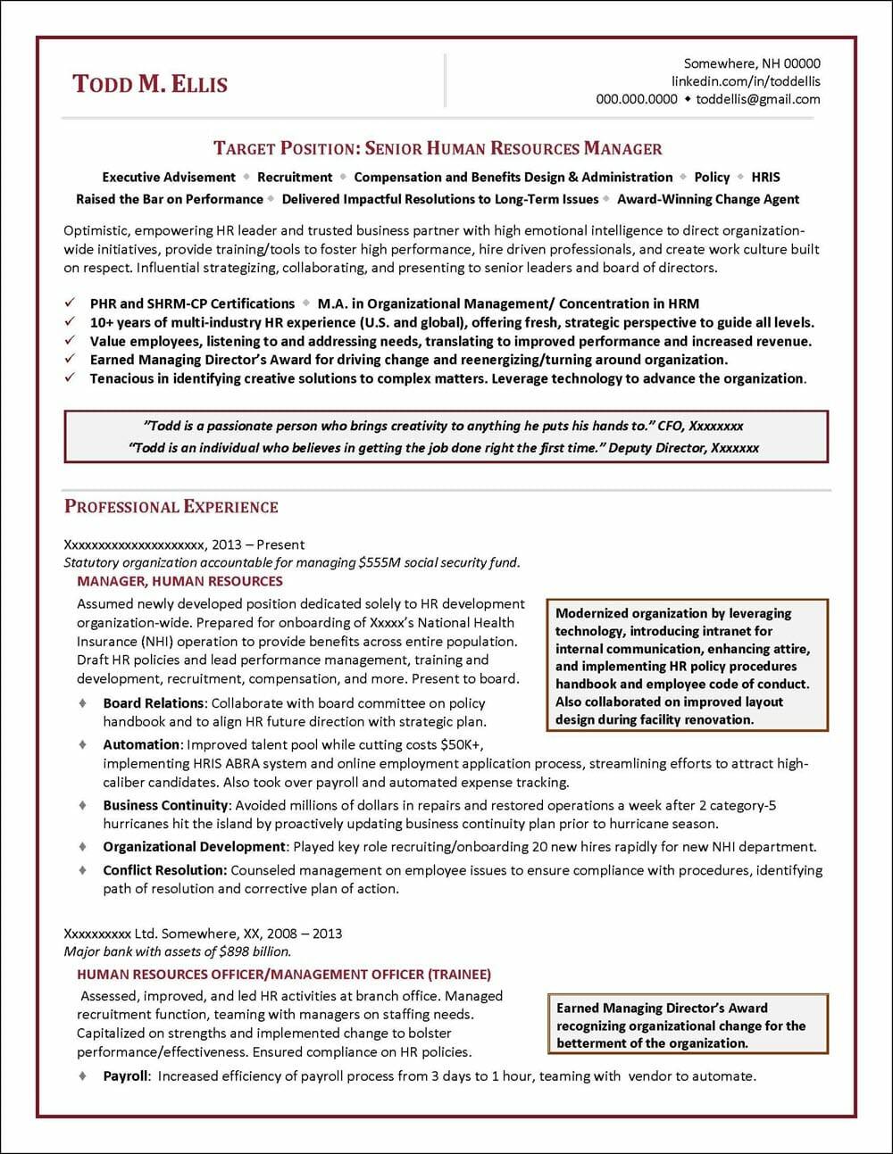 senior human resources manager resume