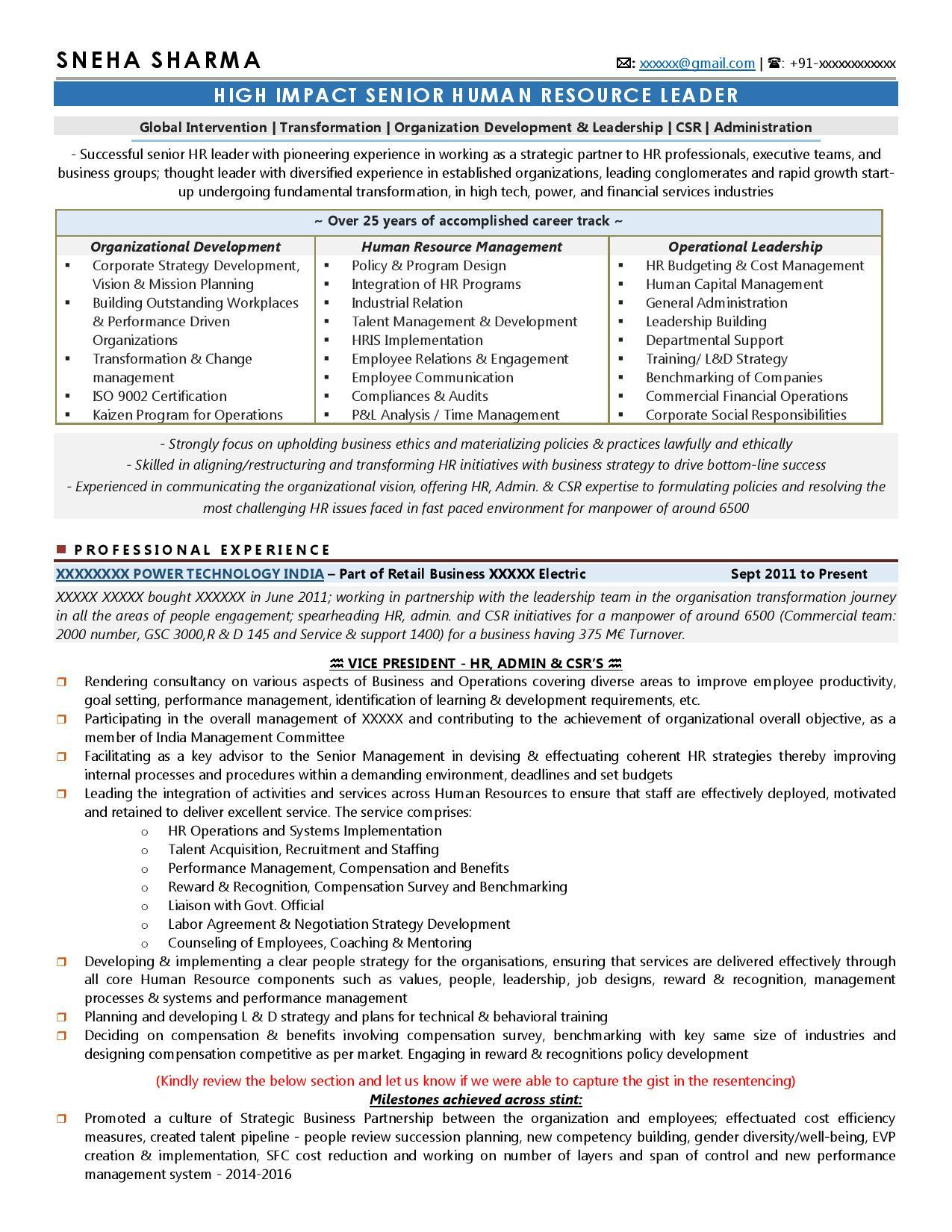 Vice President Of Human Resources Resume Sample Transformation Of A Vp - Hr Resume