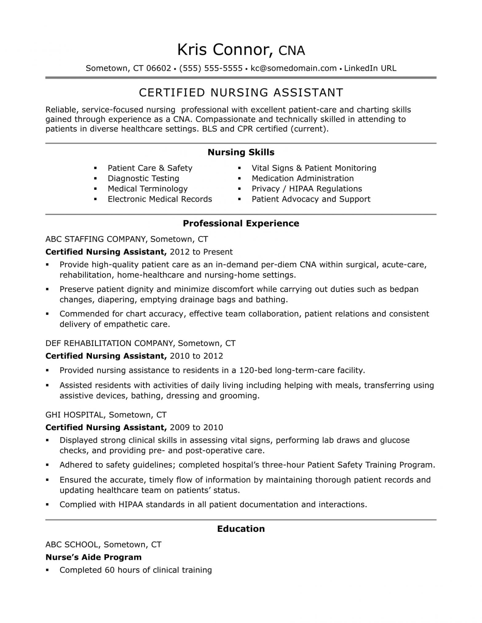 Cna Resume Sample for New Cna Applicant Cna Resume Examples: Skills for Cnas Monster.com