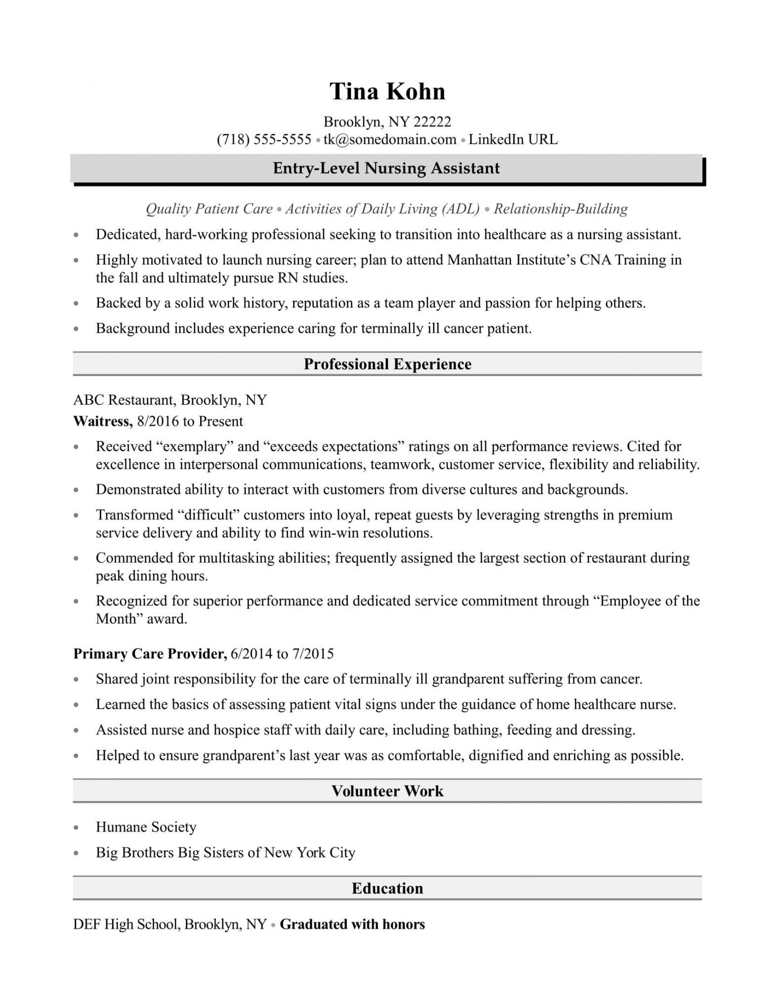 Cna Resume Sample with No Work Experience Nursing assistant Resume Sample Monster.com