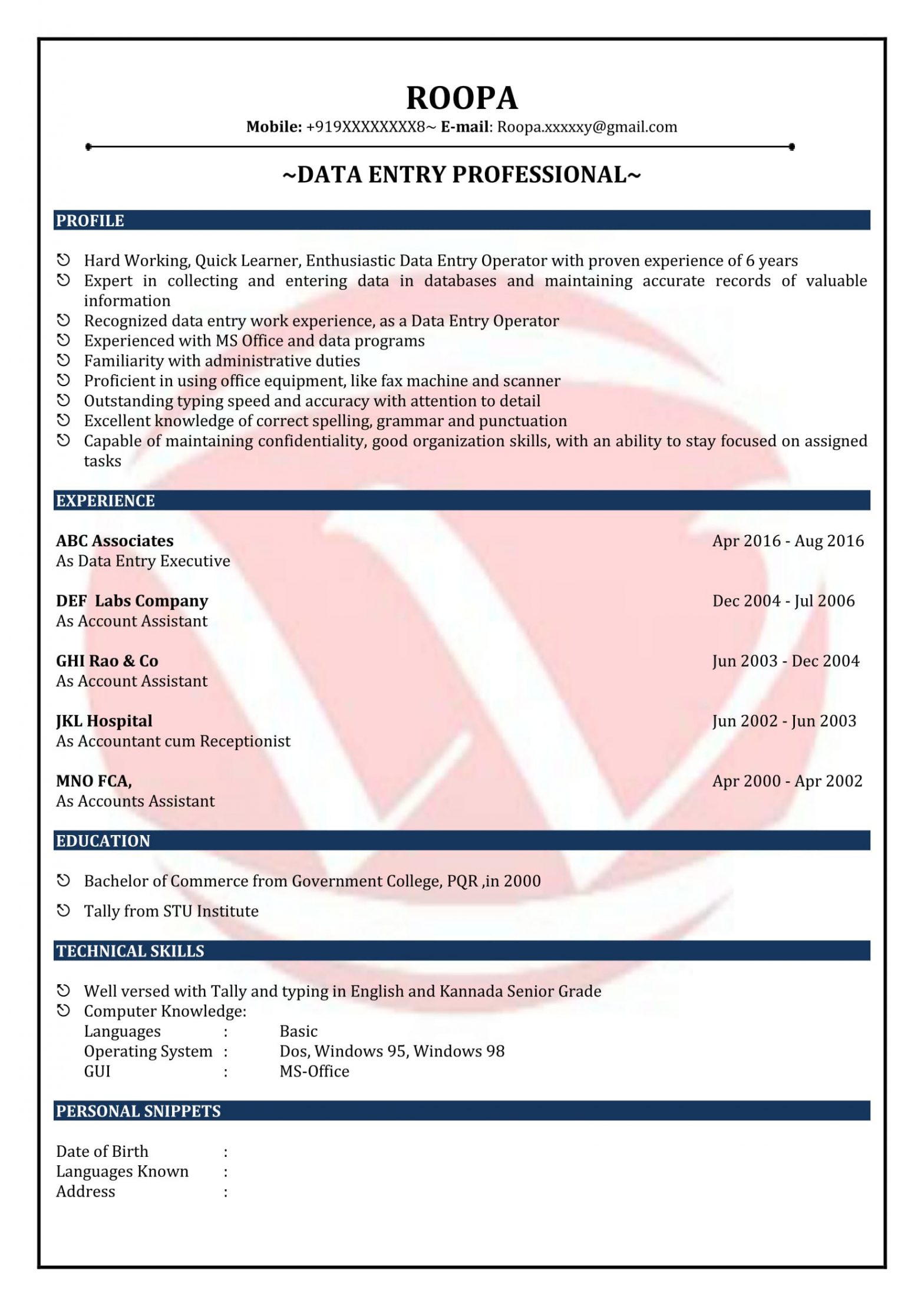 Data Entry Operator Resume Sample India Data Entry Sample Resumes, Download Resume format Templates!