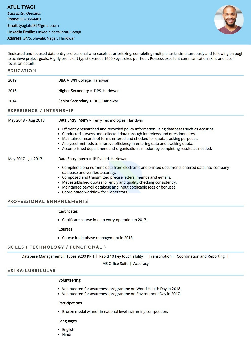 experience resume format for data entryml