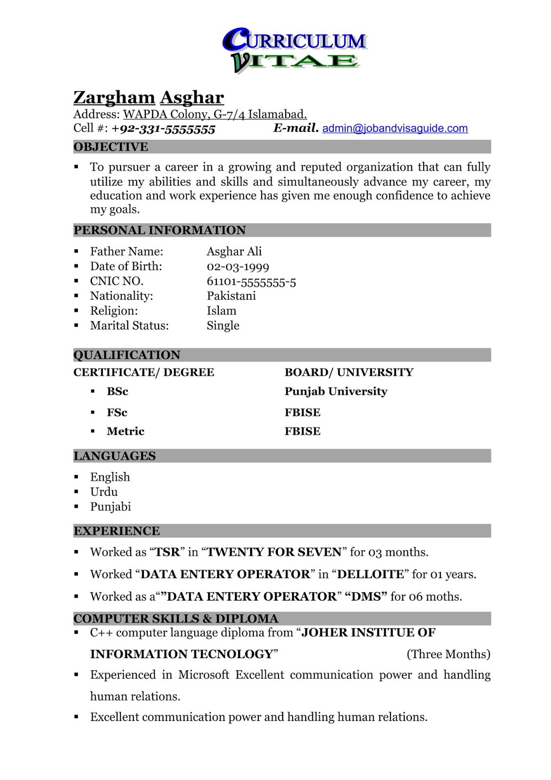 resume format for freshers data entryml