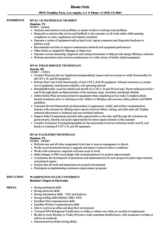 entry level hvac resume sample