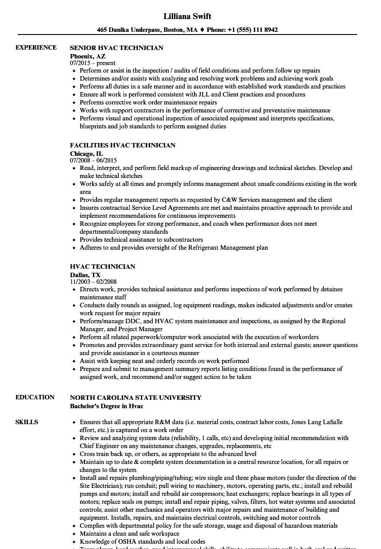 Entry Level Hvac Technician Resume Samples Entry Level Hvac Resume Sample Free Resume Templates