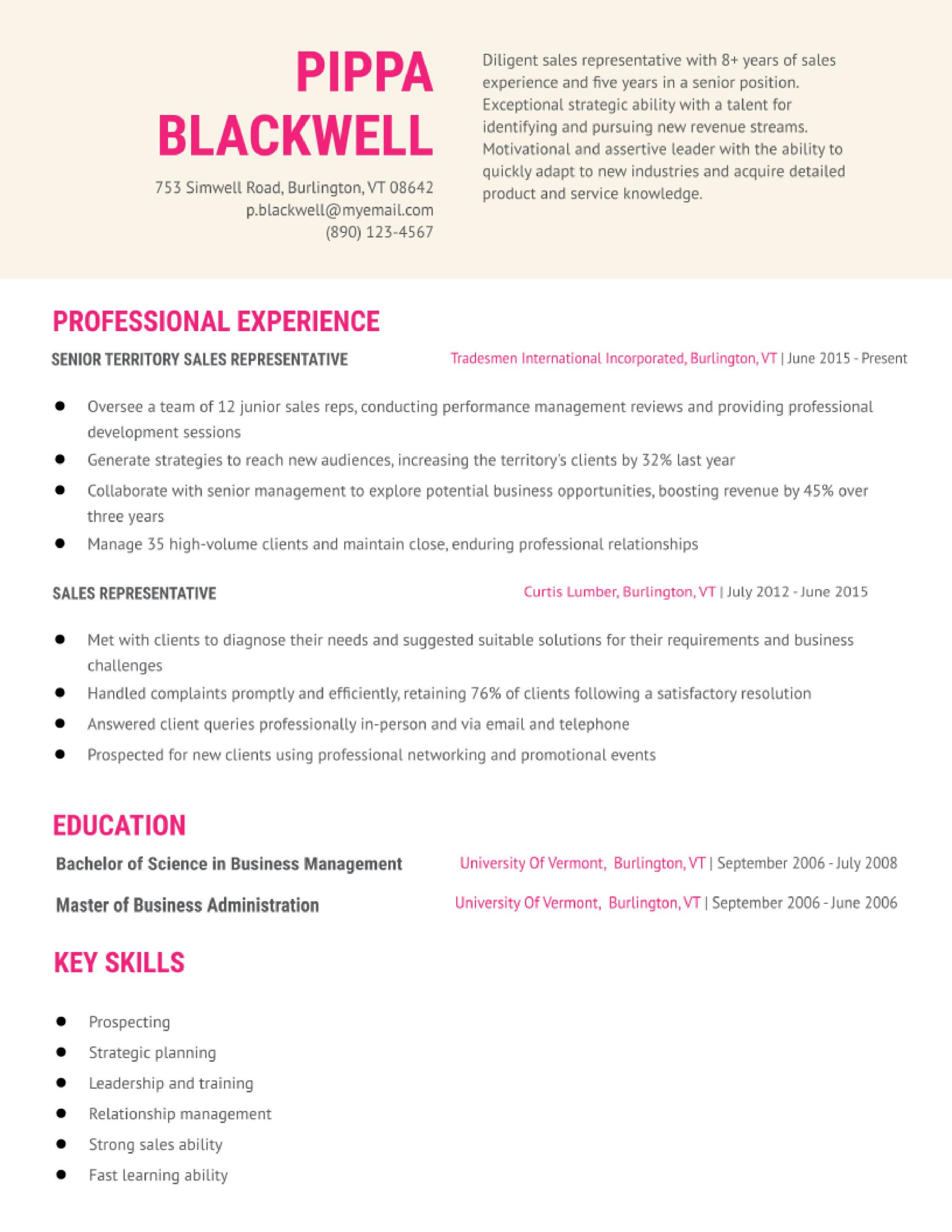 entry level medical sales representative resume examples