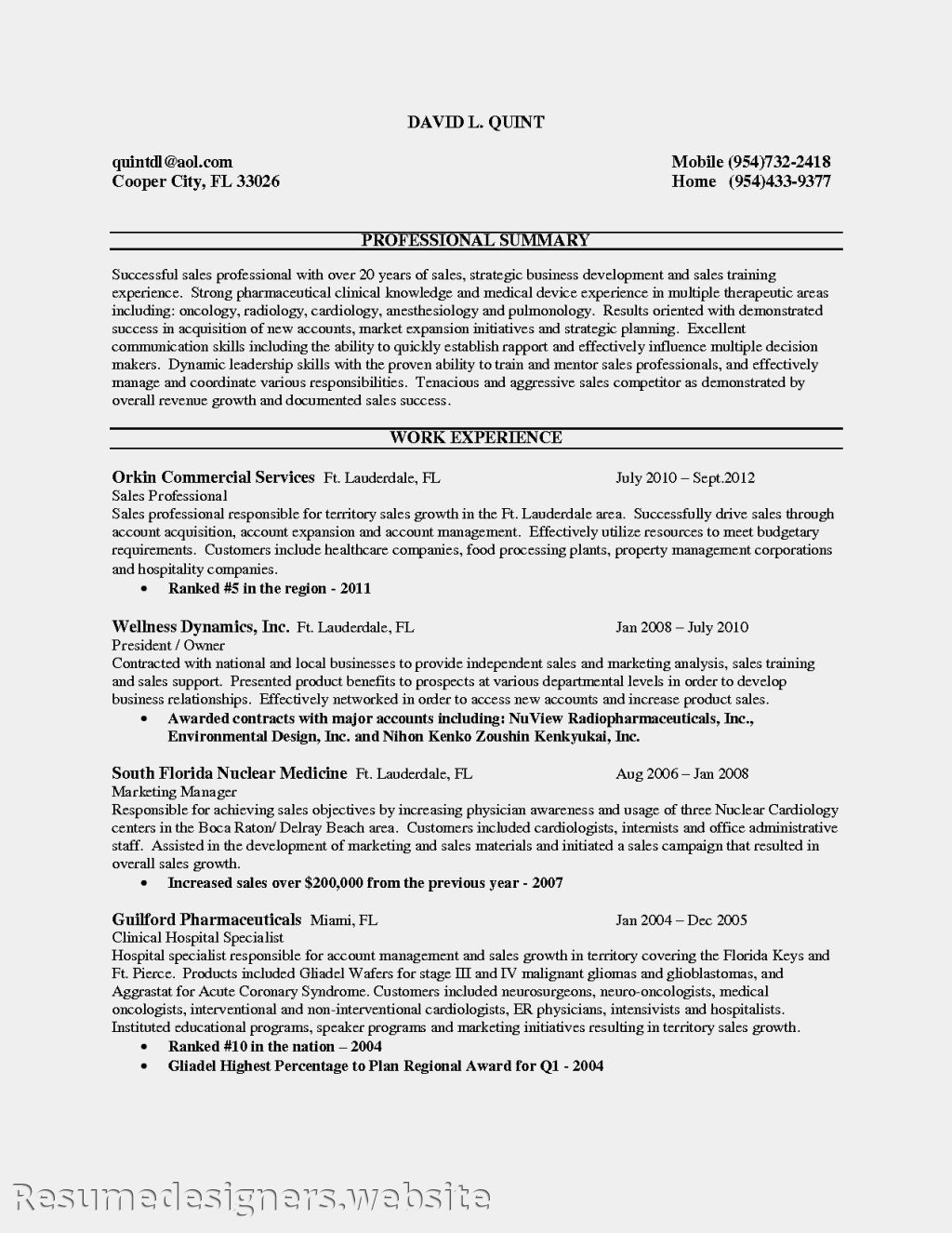 716 resume for medical sales entry level