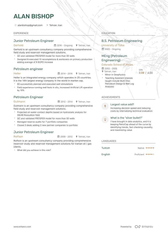 petroleum engineer resume example