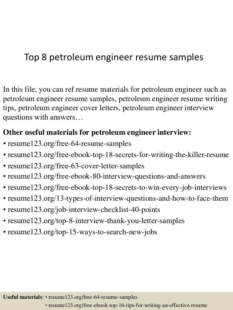 top 8 petroleum engineer resume samples