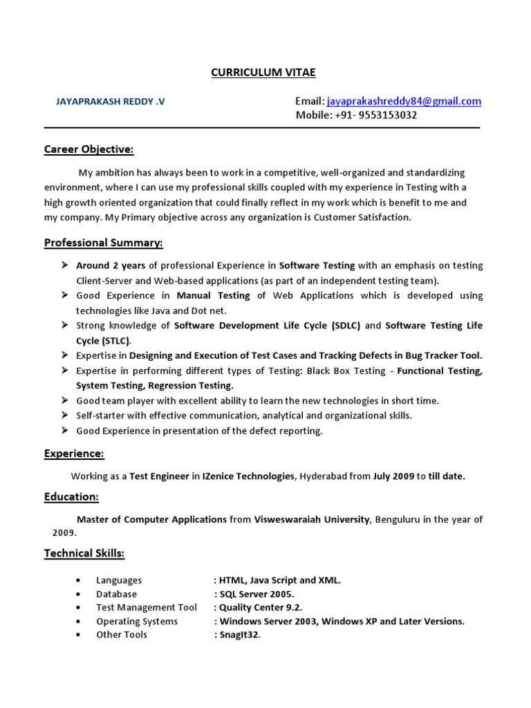 Manual Testing Sample Resume for 2 Years Experience Jayaprakash Resume 2years Exp Manual Testing Pdf software …