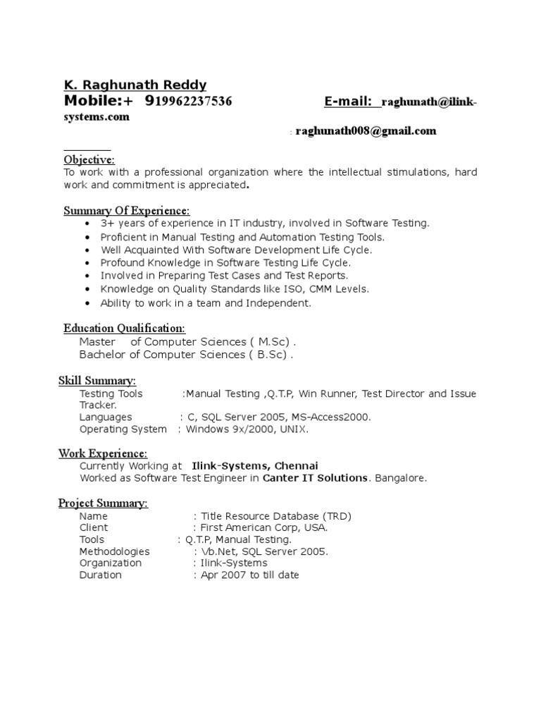 manual tester resume 5 years experience