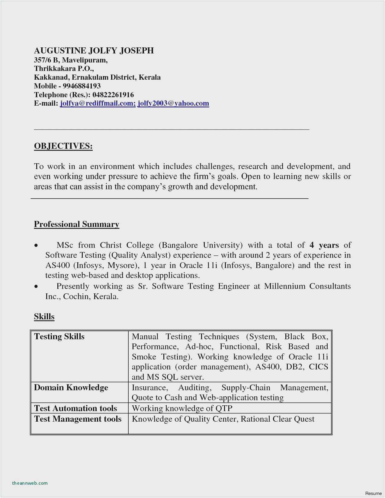testing resume sample