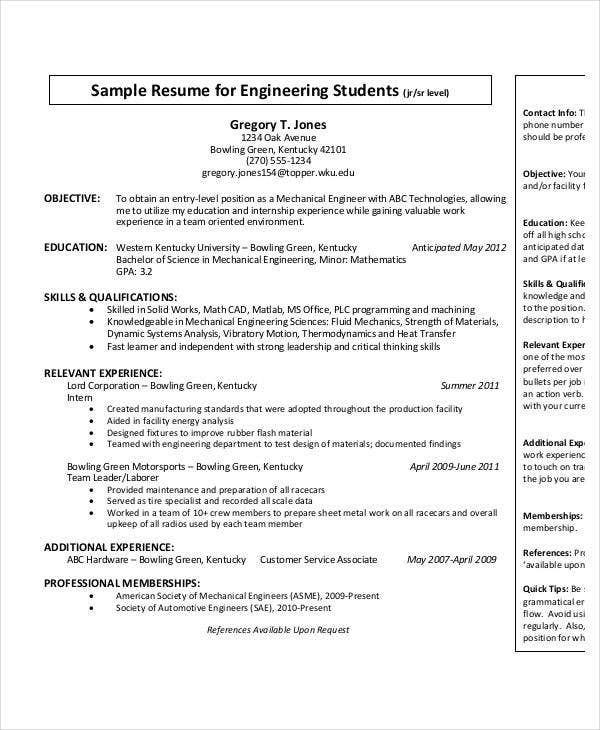 free engineering resume