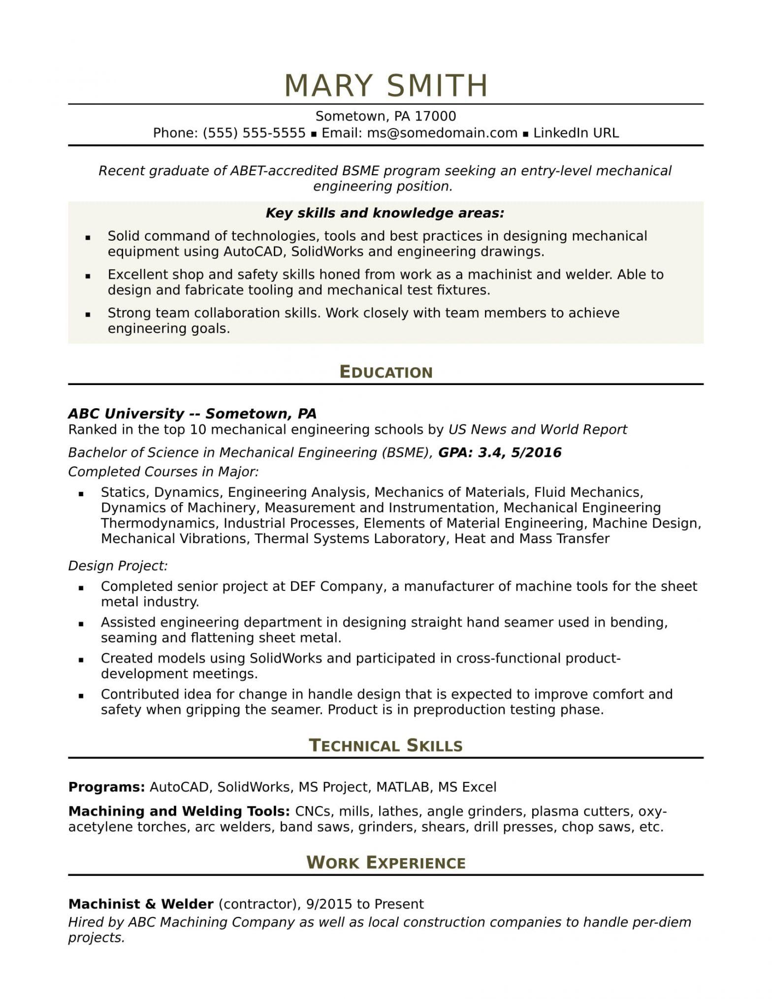 Mechanical Engineering Resume Samples Entry Level Sample Resume for An Entry Level Mechanical Engineer