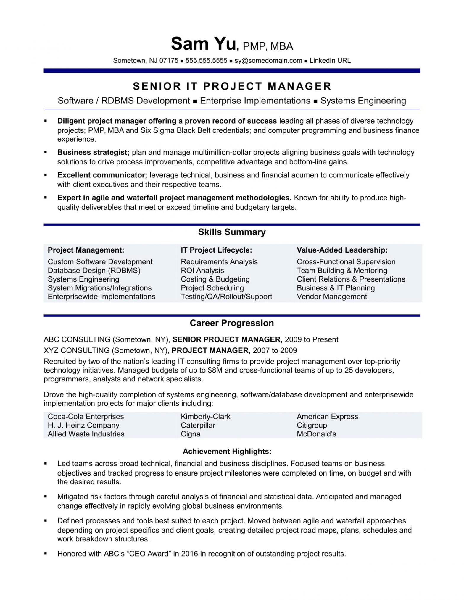 Project Manager Job Description Sample Resume Experienced It Project Manager Resume Monster.com