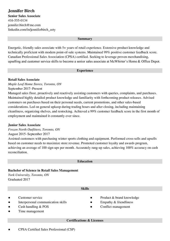 canadian resume