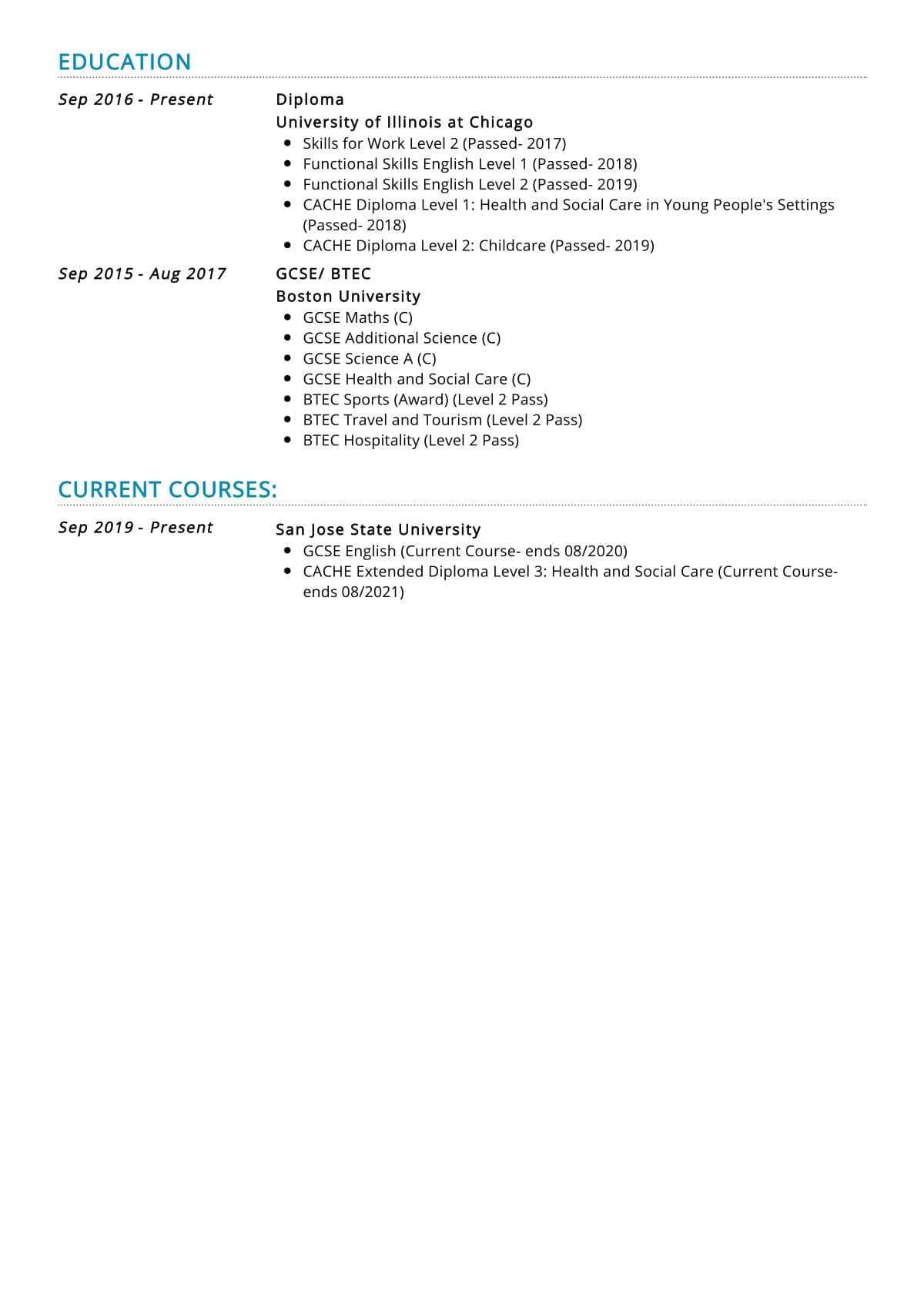 part time job resume sample