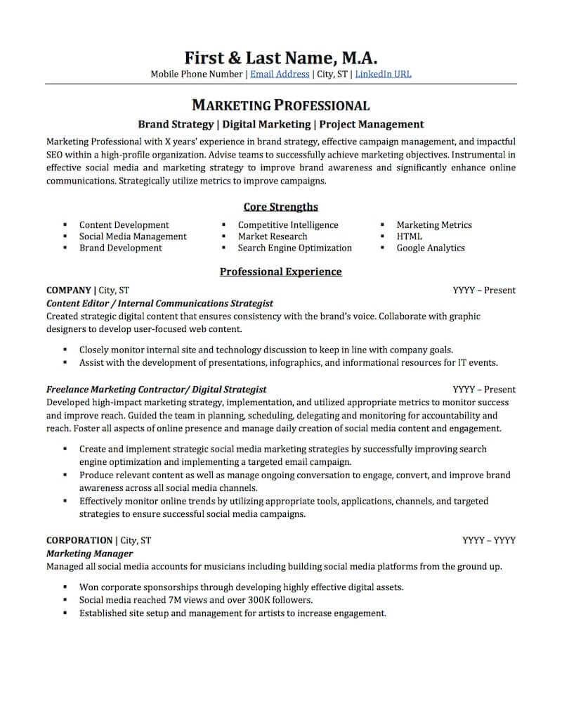 Resume for Promotion within Same Company Sample Advertising & Marketing Resume Sample Professional Resume ...