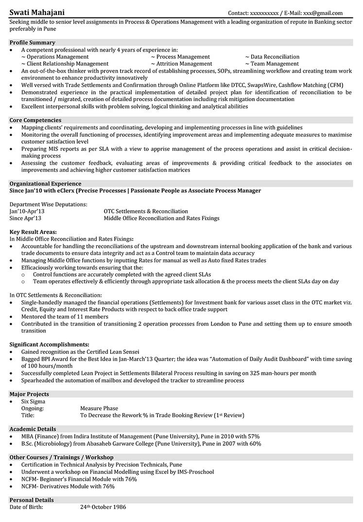 sample resume for operations