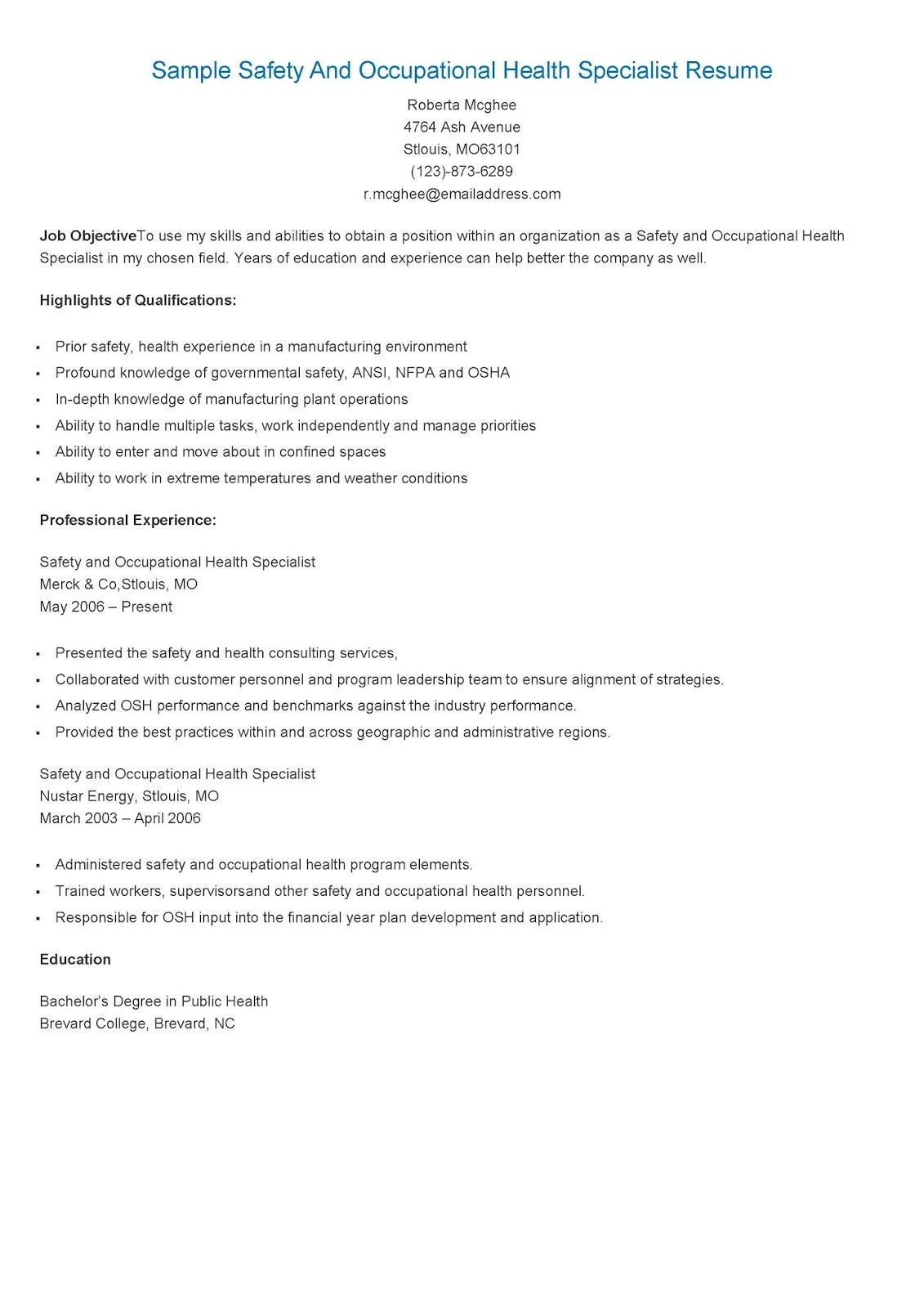 Safety and Occupational Health Specialist Sample Resume Sample Safety and Occupational Health Specialist Resume Sample …