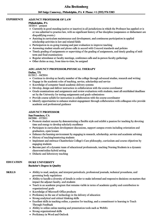 Sample Adjunct Professor Resume No Teaching Experience Adjunct Professor Resume