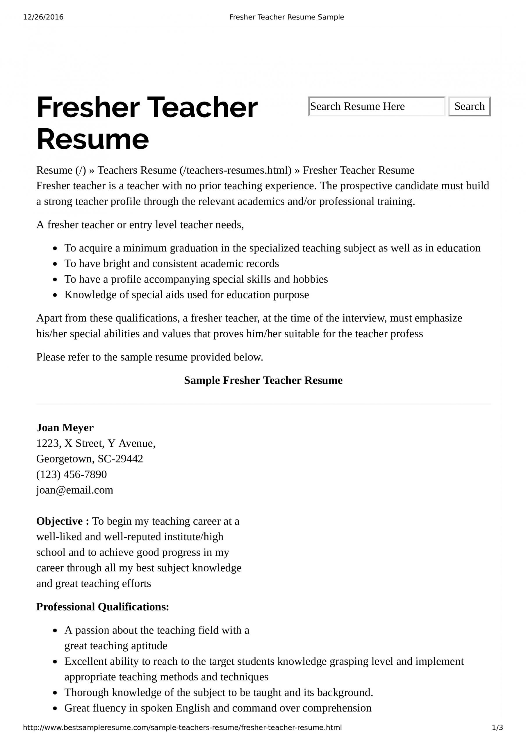 preschool teacher resume with no experience