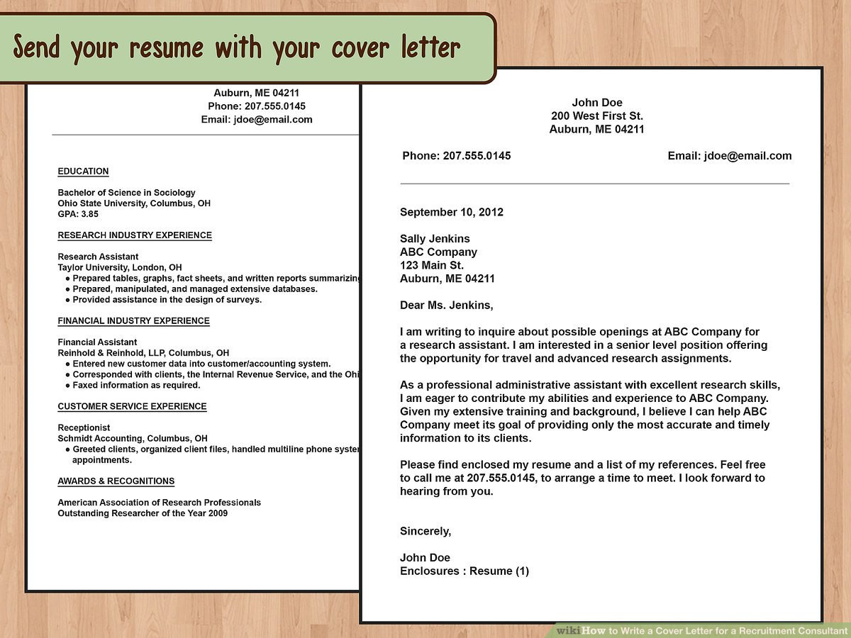 Sample Email to Send Resume to Recruitment Agency How to Write A Cover Letter for A Recruitment Consultant: 14 Steps