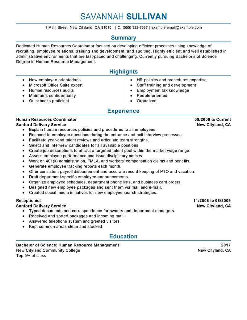hr specialist resume sample